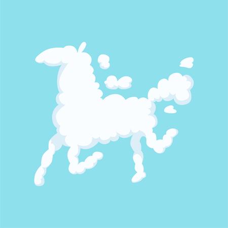 Grappige wolk in vorm van lopend paard. Silhouet van dier. Geïsoleerd plat vector ontwerp voor kinderboek, poster, groet of uitnodigingskaart