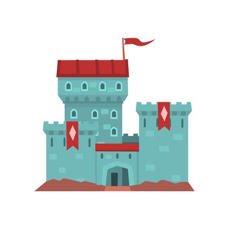 Cartoon blauw herenhuis met rode heraldische vlaggen op conisch torentje.