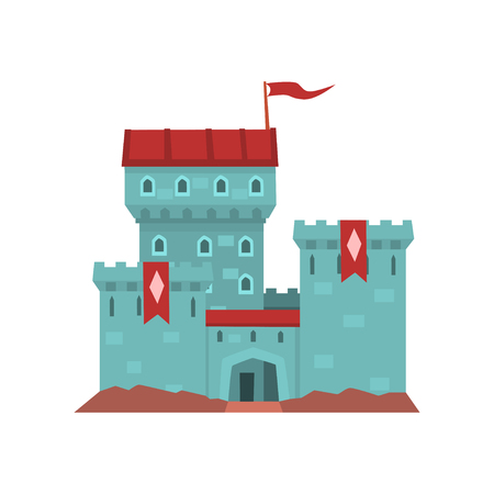 Cartoon blue mansion with red heraldic flags on conical turret. Illustration