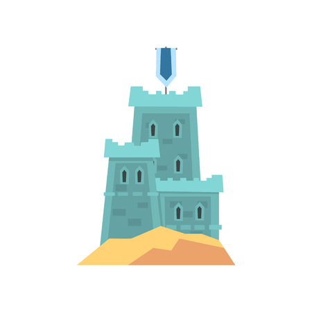 Little medieval fortress in blue color. Old royal castle on hill. Historical building in flat style. Vector illustration isolated on white. Design for children s book, landmark icon or mobile game. Illusztráció