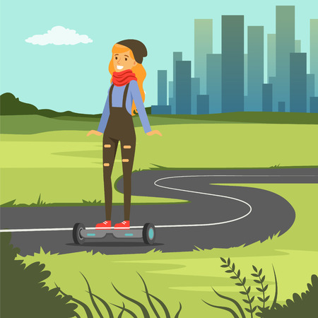 Girl riding on gyroscope on city background, fashionable young woman on self balancing modern electric scooter vector illustration, web banner