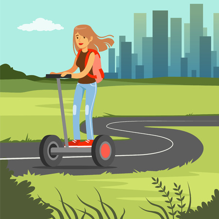 Young sportive woman riding on  scooter on city background, electric two wheels vehicle vector illustration, web banner