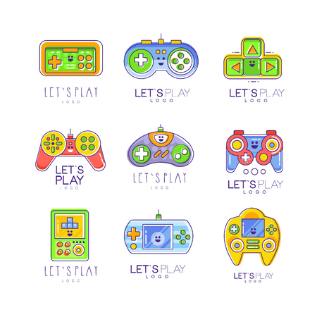Game gadget let s play logo collection in line style, gameplay, joystick, gaming controller. Vector illustration isolated on white. Colorful graphic design for games store or card. Illustration