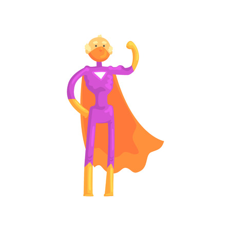 Cartoon character of elderly superhero in classic comics costume with orange mantle, gloves and mask. Brave grandfather with super powers. Flat vector illustration isolated on white background.
