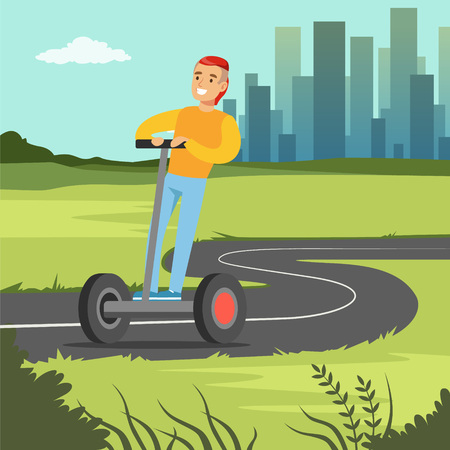Young smiling man riding on  scooter on city background, electric two wheels vehicle vector illustration, web banner