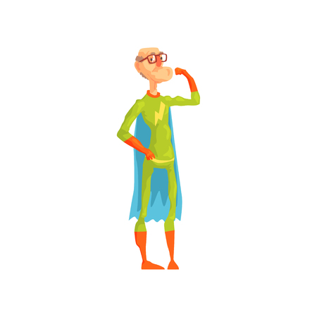 Funny old superhero showing his biceps. Grandfather in good physical shape. Cartoon elderly character in glasses, classic hero costume with cape and gloves. Flat vector illustration isolated on white. Ilustração