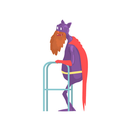 Old bearded superhero with paddle walker. Grandfather character in classic hero costume with mantle, gloves and mask with funny ears. Isolated flat vector