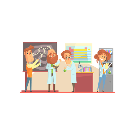 Group of men scientists and girl assistant in laboratory. Lab interior design with equipment and furniture blackboard, table, cabinet, microscope, test tubes, periodic table. Isolated flat vector. Illustration
