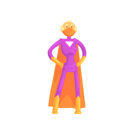 Elderly superhero standing in heroic posture with arms akimbo. Old grandfather character in classic comics costume with orange cape and mask. Isolated flat vector