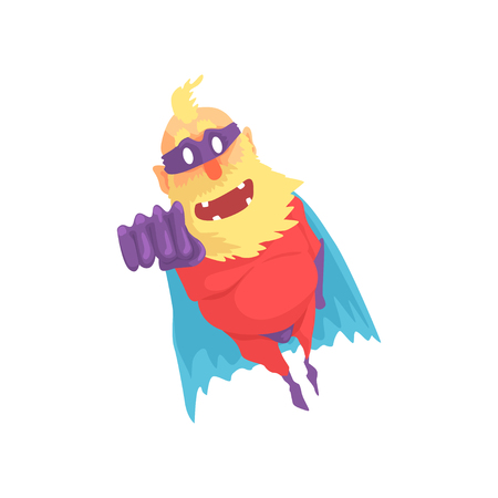 Flat cartoon character of elderly superhero in flying pose. Funny old bearded grandfather in red costume with blue cape, purple mask and gloves. Vector illustration isolated on white background. Vectores
