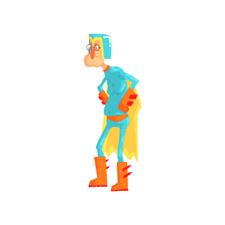 Cartoon elderly man dressed as superhero. Funny old character standing with arms akimbo in blue hero costume with helmet and yellow cape. Vector illustration in flat style isolated on white background