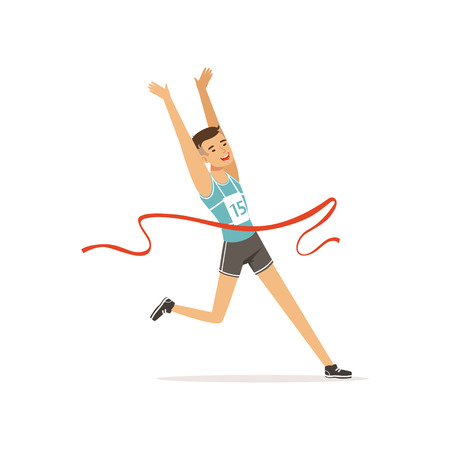 Athletic young man taking part in running competition. Guy wearing in shorts and t-shirt with number. Cartoon sportsman character crossing finish red tape. Isolated flat vector.