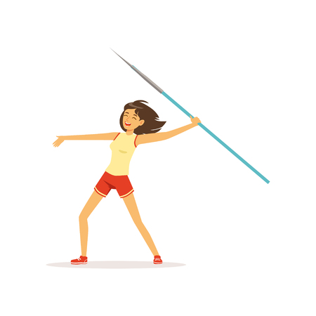 Happy girl taking part in javelin throw competition. Athletic young woman character in sportswear. Healthy lifestyle. Sport equipment. Flat vector illustration isolated on white.