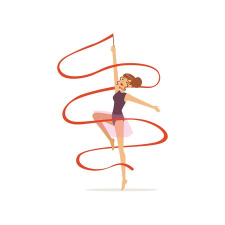 Dança profissional da menina da ginasta com fita vermelha. Esporte profissional de ginástica rítmica. Caráter bonito novo da mulher no leotard roxo com saia. Vetor plana isolada. Foto de archivo - 91338830