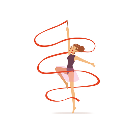 Professional gymnast girl dance with red ribbon. Professional rhythmic gymnastics sport. Young beautiful woman character in purple leotard with skirt. Isolated flat vector. Illustration