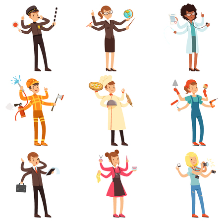 Cartoon flat multitasking characters set. Men and women with many hands. People of different professions. Vector collection