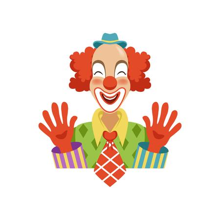 그의 손을 보여주는 전통적인 메이크업에 재미 있은 서커스 광대, 만화 복장 클래식 복장에 벡터 그림 흰색 배경에