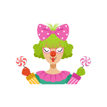 Funny female circus clown holding lollipops, avatar of cartoon friendly clown in classic outfit vector Illustration