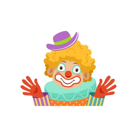 彼の手を示す面白いサーカスのピエロ、古典的な衣装ベクトルイラストで漫画フレンドリーなピエロのアバター