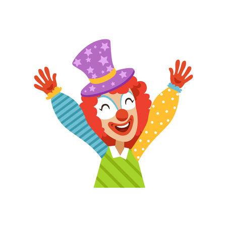 Funny circus clown raising his hands, avatar of cartoon friendly clown in classic outfit vector Illustration on a white background Stock Illustratie
