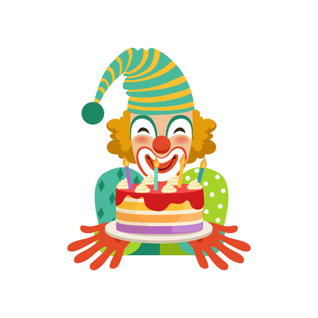 Funny circus clown in traditional makeup with birthday cake, cartoon friendly clown in classic outfit vector Illustration