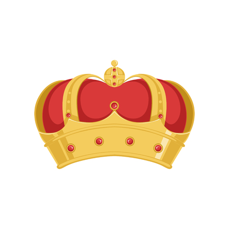 Golden pope or king crown crown with red velvet and precious stones vector Illustration Ilustrace