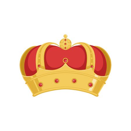 Gouden paus of koning kroon kroon met rood fluweel en edelstenen vector illustratie