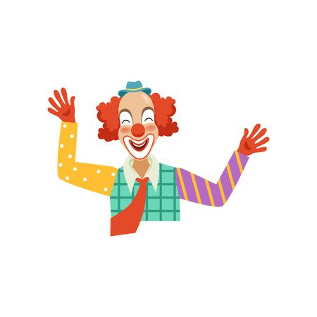 Gelukkige grappige circusclown, beeldverhaal vriendelijke clown in klassieke uitrusting vectorillustratie