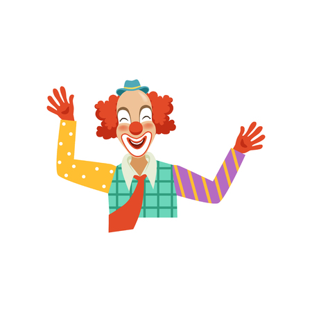 Happy funny circus clown, cartoon friendly clown in classic outfit vector Illustration