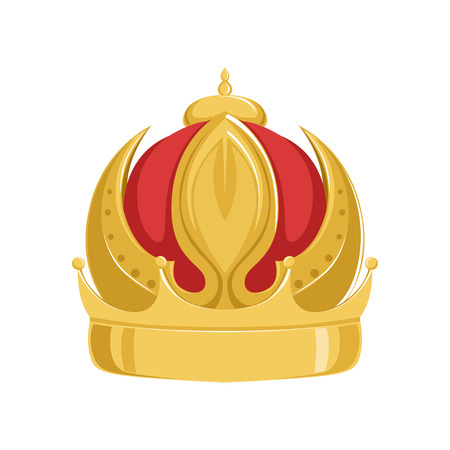 Golden emperor ancient crown with red velvet, , classic heraldic imperial sign vector Illustration Ilustrace