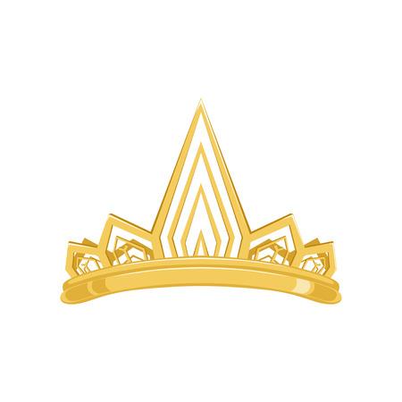 Corona antigua de oro para rey o monarca, reina o princesa tiara ilustración. Foto de archivo - 91385586