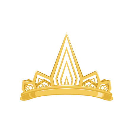 Golden ancient crown for king or monarch, queen or princess tiara illustration.