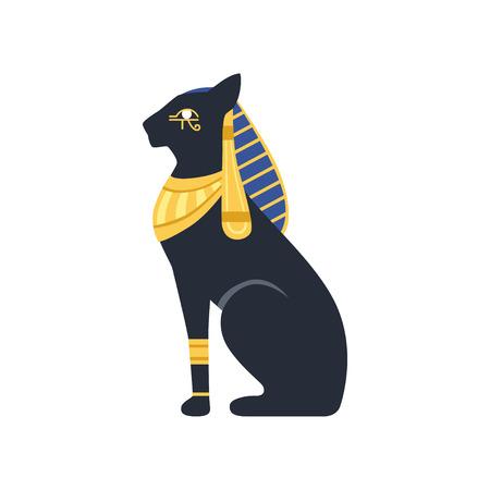 黒いエジプトの猫バステット、古代エジプトの女神ベクトル白い背景にイラスト