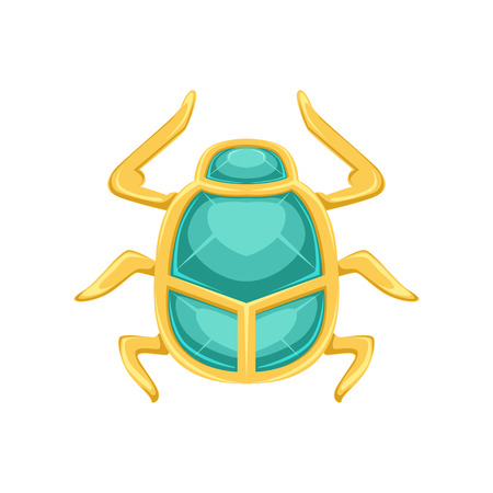 Egyptian scarab beetle, sacred bug a symbol of the sun vector Illustration