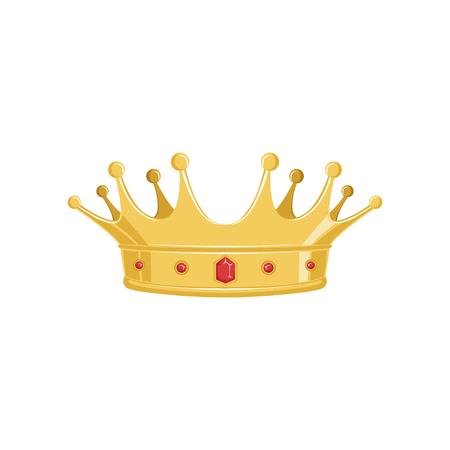 Coroa antiga dourada com as pedras preciosas vermelhas para o rei ou o monarca, a rainha ou a princesa, sinal imperial heráldico clássico. Foto de archivo - 91385587