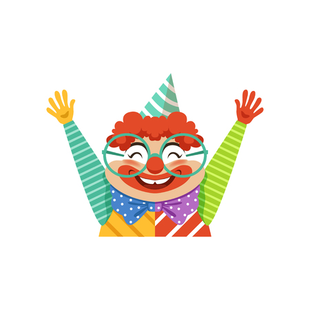 Funny circus clown in traditional makeup and glasses, cartoon friendly clown in classic outfit vector Illustration