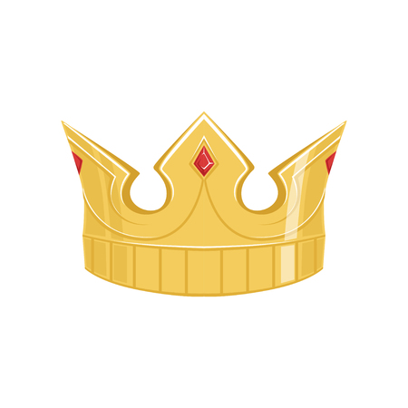 Golden ancient crown with precious stones, classic heraldic imperial sign vector Illustration Illustration