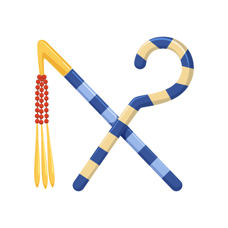 ロッドと鞭、力の図の古代のエジプトのシンボル。