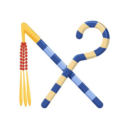 막대기와 채찍, 권력의 이집트 고대의 상징 일러스트 레이 션.