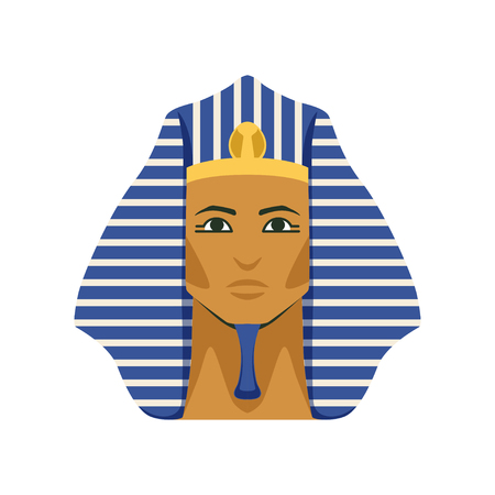 Egyptian golden Tutankhamen pharaoh mask, symbol of ancient Egypt Illustration.