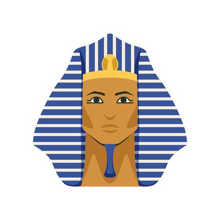 Egyptian golden Tutankhamen pharaoh mask, symbol of ancient Egypt Illustration.
