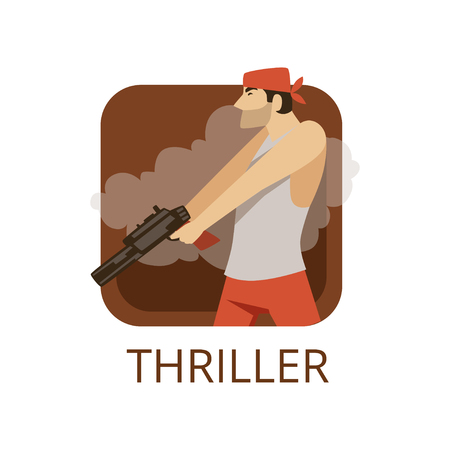 Thriller cinema genre, symbol for cinema or channel, cinematography, movie production Illustration.
