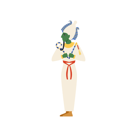 Osiris, the God of the underworld, Egyptian ancient culture vector Illustration