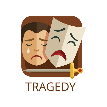 Tragedy cinema or theatre genre, cinematography, movie production vector Illustration on a white background Illustration