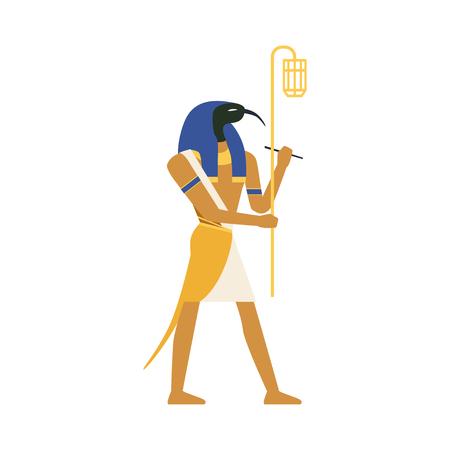 知恵の神、エジプトの古代文化イラスト。  イラスト・ベクター素材