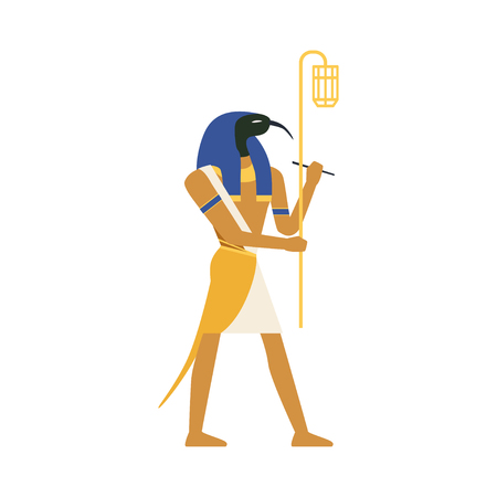 Thoth, God of Wisdom, Egyptian ancient culture Illustration.