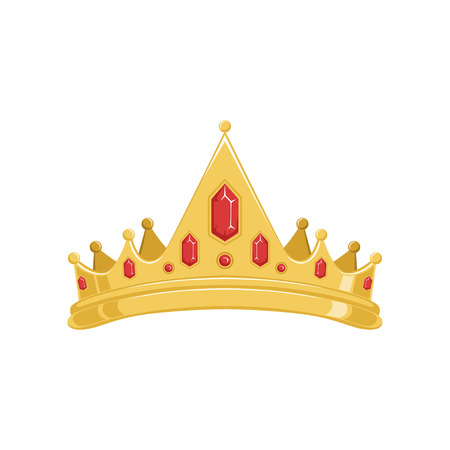 Golden ancient tiara or crown with red precious stones vector Illustration