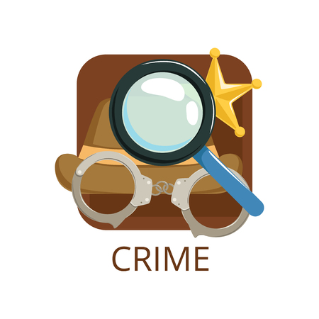 Crime cinema genre, symbol for cinema, theatre, channel, cinematography, movie production vector Illustration