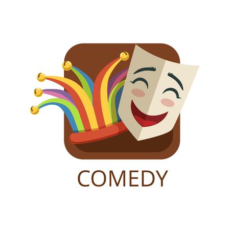 Comedy cinema or theatre genre, cinematography, movie production vector Illustration