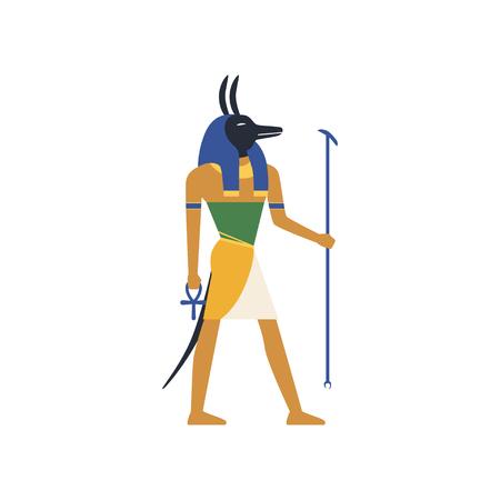 Anubis, le dieu de la mort, vecteur de la culture antique égyptienne Illustration sur fond blanc Banque d'images - 91381436